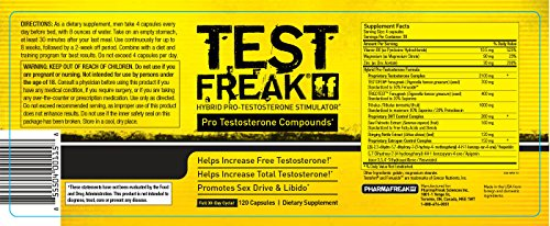 Pharmafreak Test Freak #1 Selling Testosterone Booster Hybrid Pro Testosterone Stimulator 120 Capsules Boost Testosterone Helps to Increase Muscle Mass, Energy, Stamina, Libido and Recovery Time Guaranteed 2 Year Shelf Life!