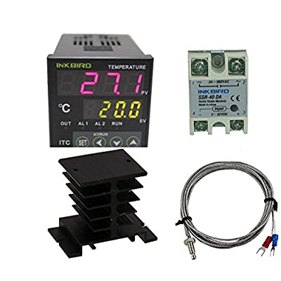 Inkbird AC 100 - 220V ITC-100VH Digital PID Thermostat Temperature Controller, DA 40A SSR, Black Heat Sink, K Thermocouple