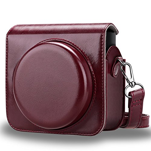 Fintie Protective Case Compatible with Fujifilm Instax Square SQ6 Instant Film Camera - Premium PU Leather Bag Cover with Removable/Adjustable Strap, Burgundy