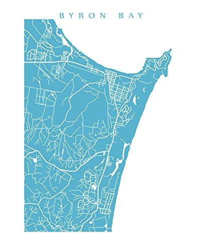 Australia Map Byron Bay.Amazon Com Byron Bay Map Print Handmade