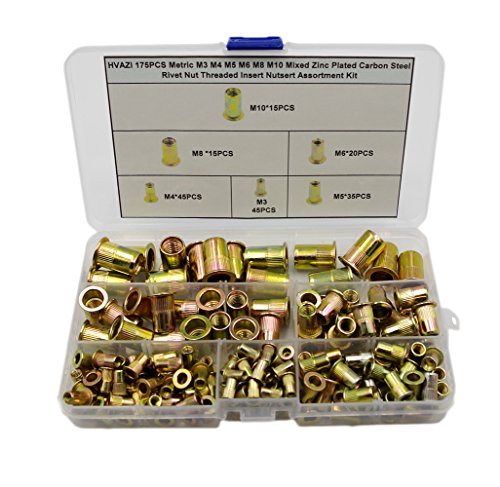 HVAZI 175PCS Metric M3 M4 M5 M6 M8 M10 Mixed Zinc Plated Carbon Steel Rivet  Nut Threaded Insert Nutsert Assortment Kit