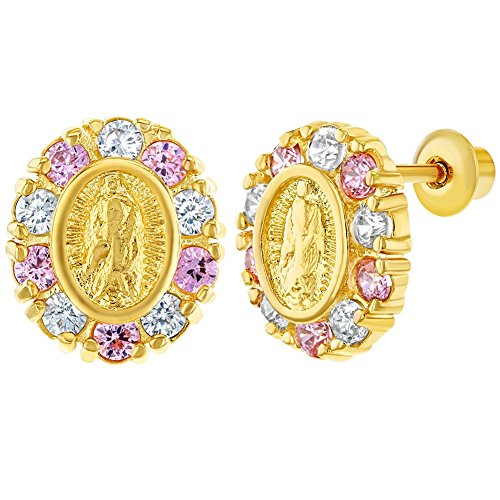 18k Gold Plated Our Lady of Guadalupe CZ Screw Back Baby Kids Earrings