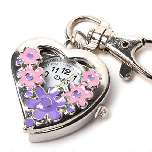 Flower Key Fob - Flowers Heart Shape Analog Quartz Watch Pocket Watches Stainless Steel Key Ring Watch (Pinkandpurple)