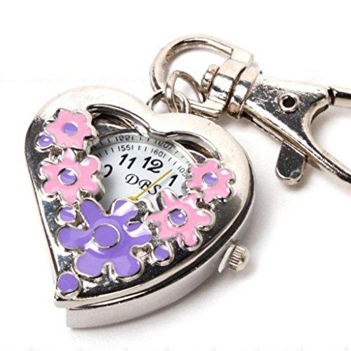 Flowers Heart Shape Analog Quartz Watch Pocket Watches Stainless Steel Key Ring Watch (Pinkandpurple)