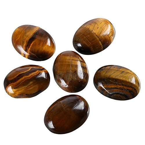 8pcs Natural Tiger Eye Oval Cabochon Flatback Gemstone Cabochons 25x18mm GP19