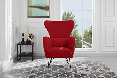 Cheap Mid-Century Modern Velvet Accent Armchair with Shelter Style Living Room Chair (Red)