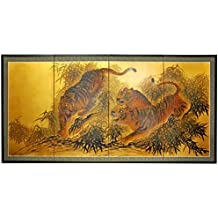 """Oriental Furniture 36"""" Gold Leaf Tigers on the Move"""