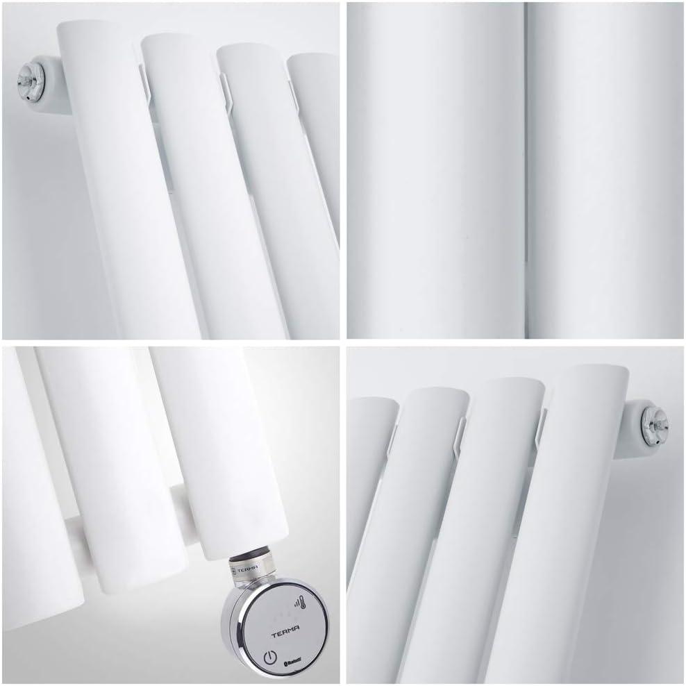 Noir Hudson Reed Vitality /Électrique 63,5 x 83,4 cm Radiateur Design Horizontal Colonnes Ovales
