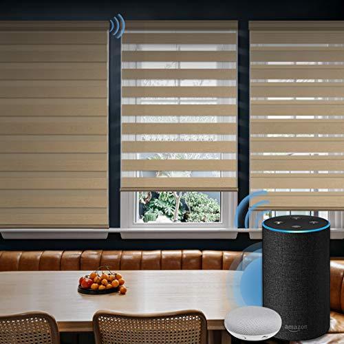 Graywind Motorized Zebra Sheer Shade Horizontal Window Blinds with Alexa Google WiFi Smart Home Hardwired Window Shades Light Filtering Cordless Window Blinds, Customized Size Coffee