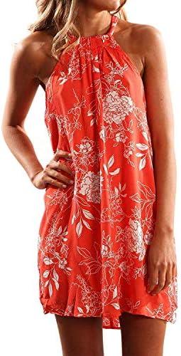 Fronage Women's Casual Sleeveless Floral Mini Dress Summer Beach Halter Neck Dresses 1