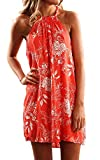 Fronage Women's Casual Sleeveless Floral Mini Dress Summer Beach Halter Neck Dresses (Small, Orange)