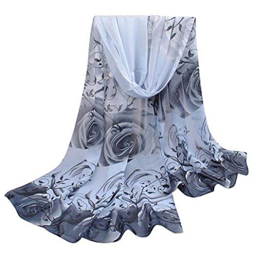 Elegant Rose - Women Rose Pattern Chiffon Elegant Scarves Vovotrade(Grey)