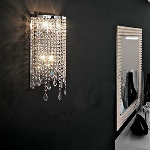 SILJOY Modern Elegant Crystal Wall Sconce Contemporary Wall Light for Bedroom Entryway Living Room