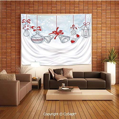 PUTIEN Popular Tapestry,Retro Style Famous Socks for Toy and Candy Bells and Snowflake Graphic,Wall Hanging Bedding TapestryWhite Red