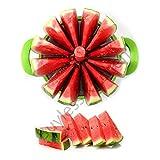 Buyless Kitchen Watermelon slicer 12-blade Fruit Cutter Tool Set plus BONUS Tong Corer Premium 430 Stainless Steel - Comfortable & Non Slip Handle, Cutting Slicing for High Performance - Green