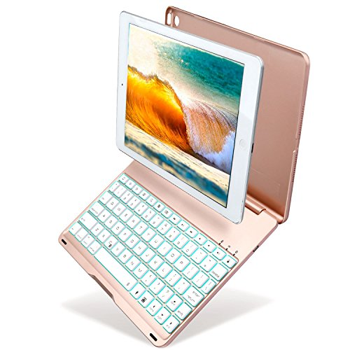Keyboard Case for iPad Air 2/iPad 6, Kiwetaso 7 Colors Backlit Apple iPad Air 2 Wireless Smart Cover with Keyboard for A1566 A1567(Gold) by Kiwetaso