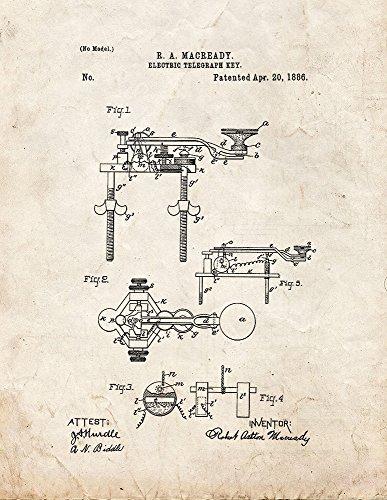 Frame a Patent Electric Telegraph Key Patent Print Art Po...