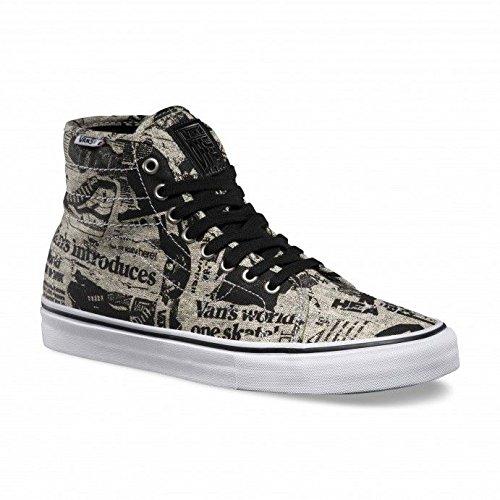 Vans AV Classic High News Print Black/White Men's Classic Skate Shoes Size 12