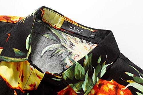 Hombre De Estampada Manga Camisa Algodón Hawaiana Corta Piña Casual Sslr Negro qxC018wEnq
