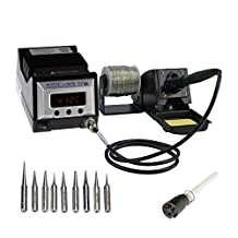 Aoyue 9378 60 Watt Programmable Digital Soldering Station-ESD Safe, Includes 10 Tips, C/F Switchable, Configurable Iron Holder, Spare Heating Element, 100-130V