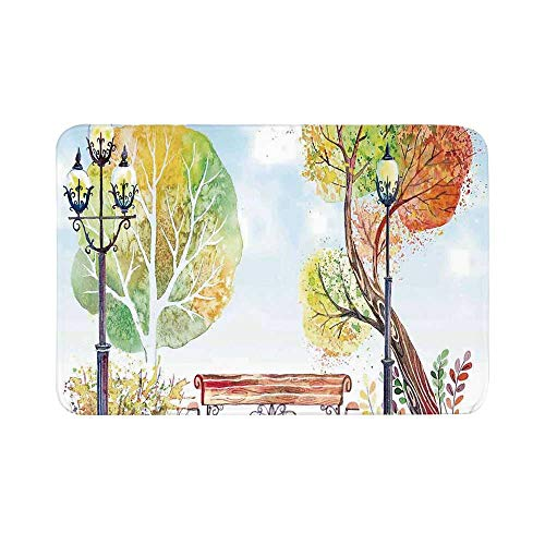 - C COABALLA Lantern Durable Door Mat,Colorful Fall Trees Wooden Bench Lantern in Park on Blue Sky Street Lamps Decorative for Living Room,17.7
