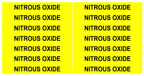 (NITROUS OXIDE ____Gas Pipe Tubing Labels__ <PACKAGE OF 28 LABELS> 3/8