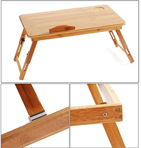 GAOJIAN College students learn laptops table Natural Bamboo Laptop Table Desk Adjustable Height Folding Table Computer Desk by GAOJIAN (Image #6)