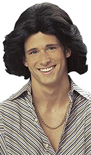 Feathered Male Wig - Black ()