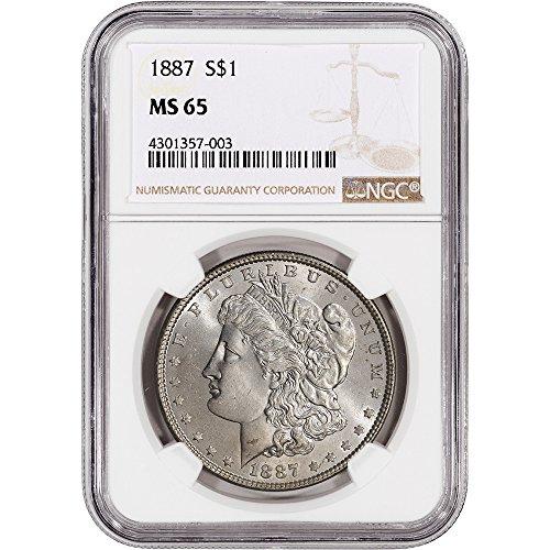 1887 US Morgan Silver Dollar $1 MS65 NGC