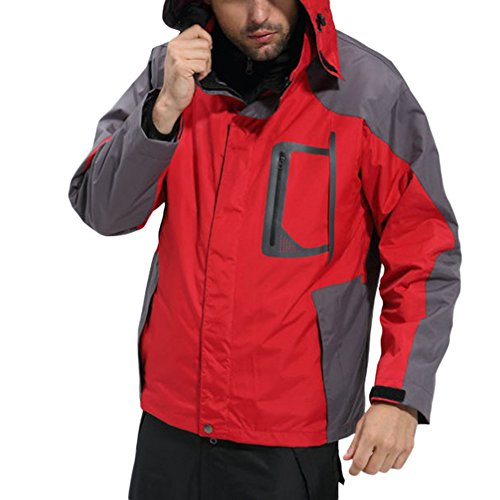 With climbing warm Men Outdoor Waterproof Keep Jackets Hood Jacket Softshell Coat Fleece Red ZongSen YHqzA