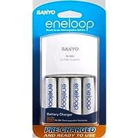 Cargador de batería Sanyo Eneloop NiMH con baterías recargables NiMH de 4AA (descontinuado por el fabricante)