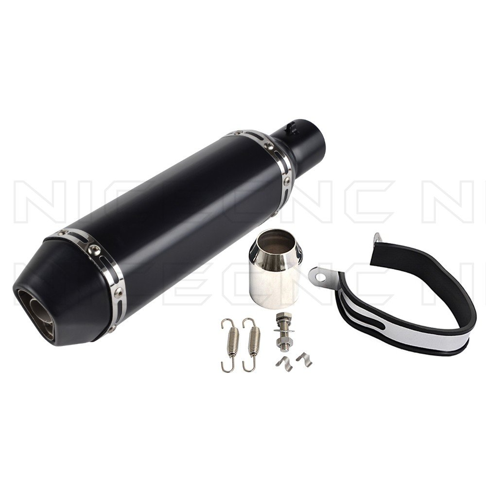 NICECNC Slip On 1.5-2' Universal Aluminum & Stainless Steel 370mm Exhaust Muffler Pipe with Removable DB Killer for Street/Sport Motorcycles, Scooters