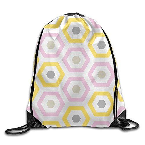 Beach Fun Hexagon Cool Drawstring String Bag Backpack Sackpack (Hexagon Pillar)