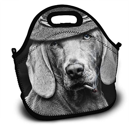 Cigarette Hat Dog White Black Reusable Insulated Lunch Tote Picnic School Bag Animal Cooler Box For Men Women Ladies Children