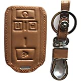 Rpkey Leather Keyless Entry Remote Control Key Fob Cover Case protector For Chevrolet Silverado 1500 2500 HD 3500 HD Colorado Tahoe Suburban Gmc Yukon Sierra 1500 Canyon M3N-32337100 13577770 22881480