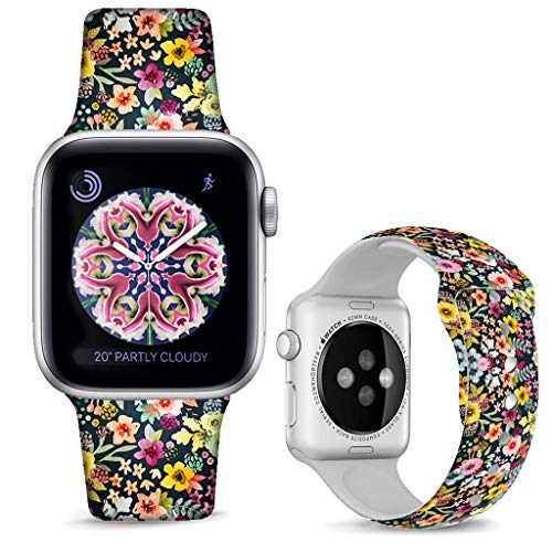DOO UC Floral Bands Compatible with iWatch 38mm/40mm,Colorful Daisies Silicone Fadeless Pattern Printed Replacement Bands for A pple Watch Series 4/3/2/1, M/L for Women/Men ()