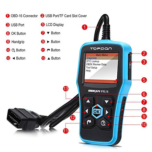 Topdon Car OBD2 Scanner, Plus Professional Car Diagnostic Scanner OBD2 Full Function with DTC Lookup and Free Update by TT TOPDON (Image #1)