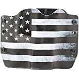 Black & White USA Flag Kydex OWB holsters for more than 200 different handguns. Left & Right versions plus Speed Clips available.