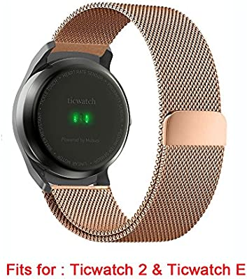 for Ticwatch 2 Band, Lamshaw Milanese Magnetic Loop Stainless Steel Watch Strap for Ticwatch 2 / Ticwatch E Super Lightweight Smartwatch (Wrist ...