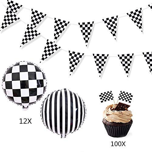 Racing Decorations Party Pack Bundle Black & White