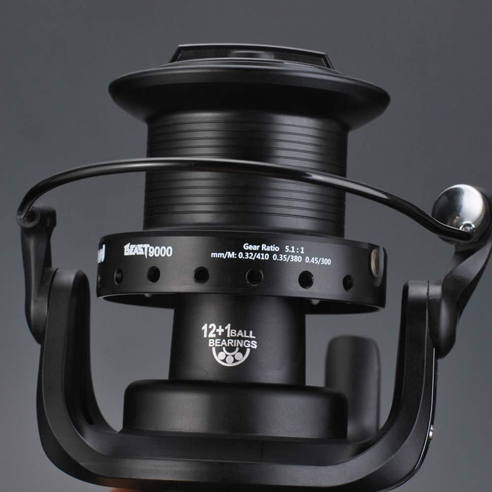 Lixada Carrete Giratorio 12 1 BB con Carrete de Pesca de Carpa de Arrastre Doble Delantero y Trasero Izquierda Derecha Intercambiable para Agua Salada de Agua Dulce
