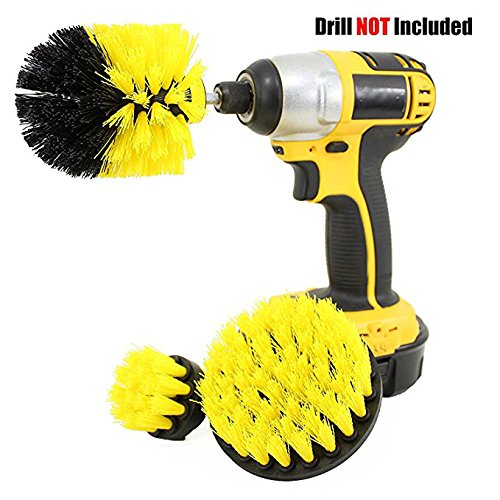 Price comparison product image EASJOY Drill Brush 360 Attachments 3 pack kit Medium- Yellow All purpose Cleaner Scrubbing Brushes for Bathroom surface,  Grout,  Tub,  Shower,  Kitchen,  Auto, Boat, RV
