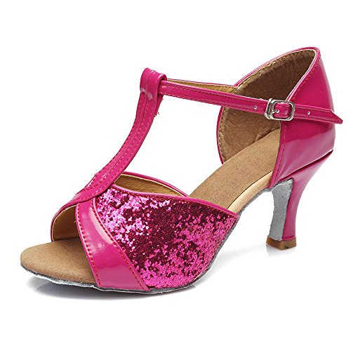 YFF Donne Professional scarpe da ballo sala da ballo latino Ladies sbandata,Rosy 7CM,5