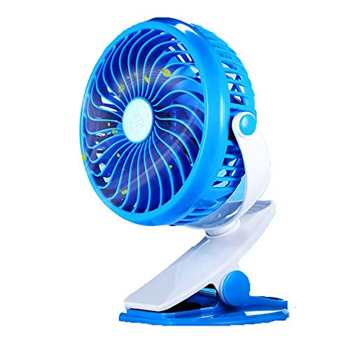 Portable Mini Quiet Fan Standing Fan USB Rechargeable or Battery Operated Fans Cute Baby Fan Desk Fan Bed Fan Table Fan for Bedside Car Baby Stroller Blue Gym Office