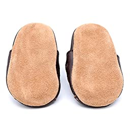 Dotty Fish Unisex Baby\'s Soft Leather Sandal with Suede Soles 2-3 years Brown
