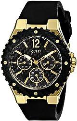GUESS Women's U0149L4 Carbon-Fiber Inspired Black & Gold-Tone Sport Watch