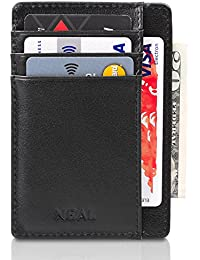 Front Pocket Slim Wallet Set, with Money Clip and Present Box, RFID Secure, Top Grain Genuine Leather, Designed for Up To 10 Cards