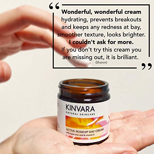 Kinvara Natural Skincare – Active Rosehip Day Cream - Natural Face Moisturizer – Organic Skin Care Formula with Rose Oil for Face, for All Skin Types, 60ml