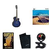Yamaha APX500III Thinline Cutaway Acoustic-Electric Guitar, Oriental Blue Burst bundle