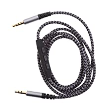 Dovewill 3.5mm AUX Replacement Headphone/Headset Audio Cable with In-Line Remote, Microphone, and Universal Volume Control for Apple iPhone, Android Samsung and More